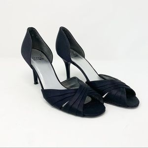 Stuart Weitzman Satin d'Orsay Pump Black Satin